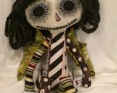 Dark Fairy Rag Doll, Stuffed Toy, Stuffed Rag Doll, Day of the Dead Doll, Halloween Doll