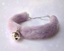 Kitten Play Collar, Bell Choker Collar, Chocker, Bell Collar, Fuzzy Neko Collar Kitty Choker, Kawaii Cat Collar, Pastel Purple