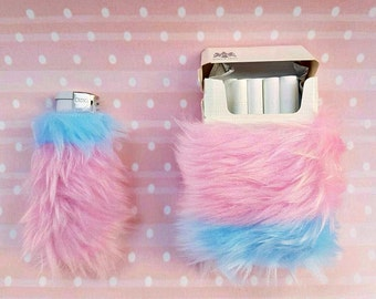 Pink Cute Cigarette Case, Girly Lighters, Pink Kawaii Cigarette Pack of Cigarettes Bic Lighter Case Pastel Grunge Furry Lighter Pastel Goth
