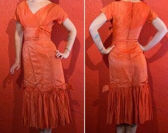 1950s Blood Orange Dress Iridescent Satin Wiggle Mermaid Hem