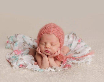 Angelic Coral Peach Mohair Baby Bonnet - Vintage Inspired Crochet Knit Pixie Hat for Baby Girl - Newborn - Made to Order