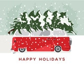 vintage vw van with a big Christmas tree strapped on top holiday card