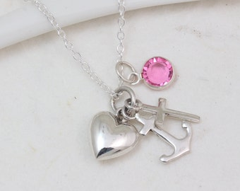 Silver Cross Anchor Heart necklace, Chose Initial or Birthstone, Heart Cross Anchor. Your choice chain, Cross, anchor, Heart Necklace