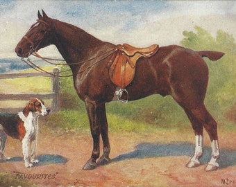Drummond Hunters - Antique 1910s Tuck's Oilette Artist-signed Foxhunt Horse and Hound Postcard