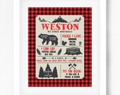 Lumberjack Birthday Poster boy buffalo plaid Printable 16x20 or 8x10