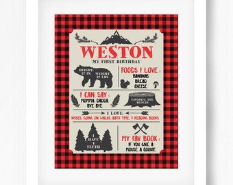 Lumberjack Birthday Poster boy buffalo plaid James MB16 Printable 16x20 or 8x10