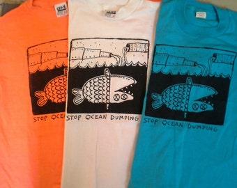 "Deadstock '80s ""Stop Ocean Dumping"" T-Shirt Unworn NOS Earth Day Ecological"