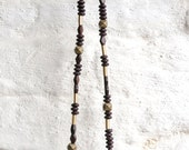 SILAB Wood and Brass Bead Necklace