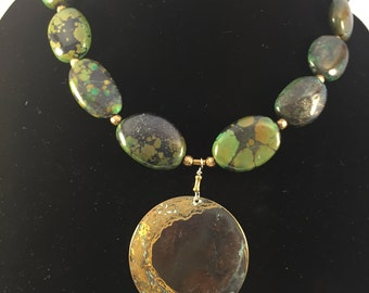 ISABELLA - Turquoise Necklace with Antique Brass Pendant