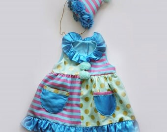 Baby Girls Clown Costume Cute Circus Dress Handmade Unique with Hat - Ready to Ship