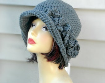 Winter Womens Hat, Crochet Flapper Hat, Hair Accessories, Grey Crochet Beanie, Womens Hat, Winter Hat