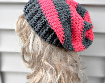 Pink Slouchy Hat Womens Crochet Hat Winter Hats Fashion Accessories Hair Accessories