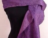 Silk shibori scarf created with vintage kimono fabric - plum and pink shibori