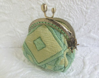 187A - Coin purse - Fabric with Metal Frame, handmade, wallet