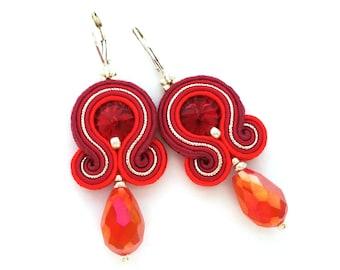 Christmas gift for wife - Christmas gift for girlfriend - Soutache earrings - Statement earrings Unique earrings Gift for mom Gift for boss