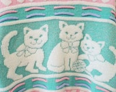 Pastel Vintage Sparkly Sweater with Cats / 80s Rad Kawaii Sweater / Vintage Pastel Sweater