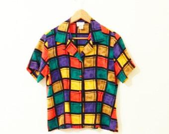 Silk Vintage Rubiks Cube Blouse / 80s Silk Button Down Blouse / Vintage Colorblock Shirt