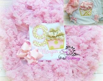 Cupcake Birthday Tutu Set- Girl's Birthday outfit- Cake Smash- Birthday Girl shirt- Posh Birthday- Pettiskirt- Tutu Birthday- Princess GIrl