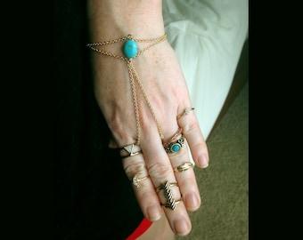 Genuine Turquoise hand chain - festival boho bohemian hippie beachy