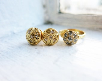 Vintage 10K Round Gold Earrings and Ring Set (US Ring Size 5.5) with Tiny Diamonds