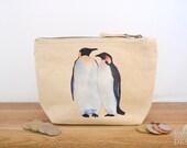 Penguin Canvas Zip Purse, Makeup Bag, Coin Purse, Small Accessory Pouch