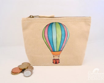 Hot Air Balloon Canvas Zip Purse, Makeup Bag, Coin Purse, Small Accessory Pouch
