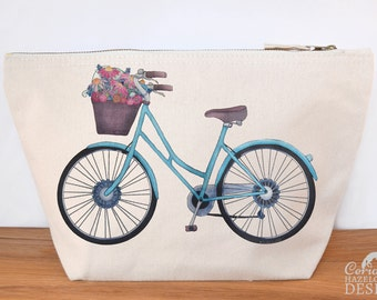 Bicycle Canvas Wash Bag, Large Zipper Pouch, Makeup Bag, Toiletry Bag, Accessory Bag