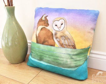 Owl and Pussy Cat Illustration Throw Cushion