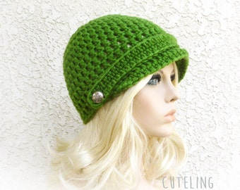 Green Hat Womens hat Crochet Newsboy Hat with metallic buttons brim hat Basil green cap girls hat 'PRIMROSE'