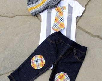 Baby Boy Tie Bodysuit with Suspenders and crocheted Newsboy hat and Knee Patch Pants - Mustard Plaid, Little Man Birthday Boy, Harvest Plaid