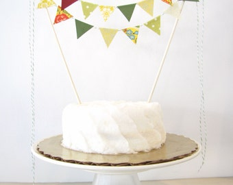 """Green & Gold Cake Topper - Fabric Cake Bunting - Wedding, Birthday, Garden Party, Shower Decor, """"Paradise"""" yellow olive floral burgundy dots"""