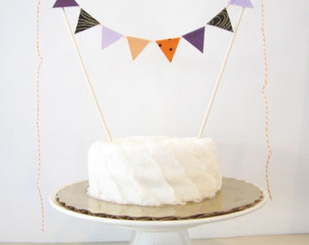 Magic Spell Cake Topper - Fabric Cake Bunting - Wedding, Birthday Party, Shower Decor Halloween purple lavender black gold orange polka dot
