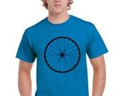 Mens Bike Shirt. Bike Wheel Tshirt. Bicycle Wheel. Bike T Shirt.  Men. Blue Sapphire. Hand Screen Printed