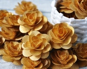 Wooden Roses 24 Pcs Gold Birch  for Weddings, Home Decorations, Scrapbooking and Floral Arrangements