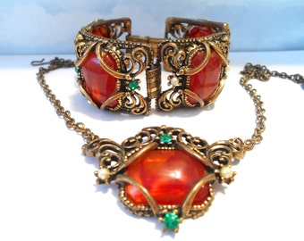 Vintage Amber and Antiqued Brass Filigree Bracelet and Necklace Victorian Art Nouveau Style Selro Style Vintage Jewelry Sets Amber Jewelry