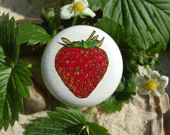 Furniture knob Strawberry hand painted engraving wooden knob - knob furniture - strawberry - hand-painted - oak - incl. screw