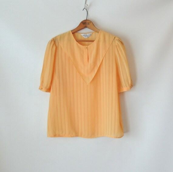 80s Sheer Yellow Striped Blouse / Bib Collar Top / Butterscotch Yellow Shirt / Semisheer Stripes / Ship n' Shore Collectibles / Small Medium