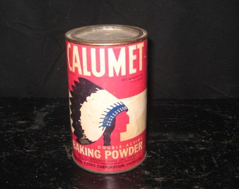 Calumet Baking Powder Tin with Directions/Calumet Baking Powder Tin with Paper Label/Calumet Baking Powder Tin with Directions for Use