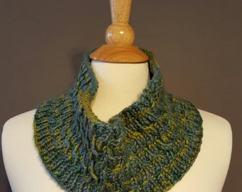 Hand Knit Cowl Silk and Wool Blue and Green Trellis