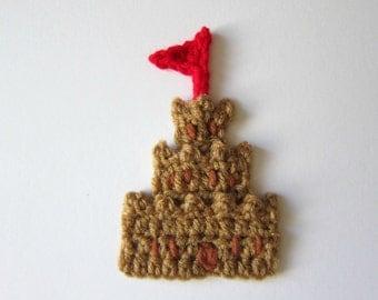"""1pc 5"""" Crochet SAND CASTLE Applique"""