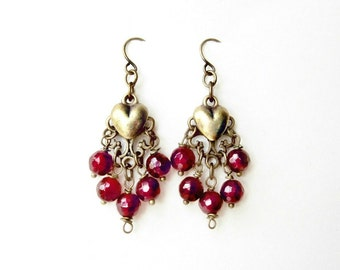 Chandelier Heart Earrings with Magenta Pink Agate Gemstones and Antique Bronze Filigree. Elegant Handmade Wire Wrapped Dangle Earrings|