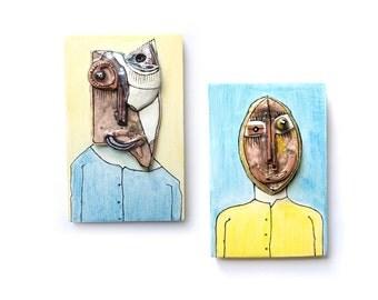 Best Friends, 3d wall figures, set of 2, crazy art, original abstarct, ceramic sculpture, funky art
