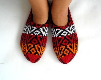 knitted slippers, orange red black white Turkish Knitted Socks Slippers, woman slippers, women socks, gift for woman