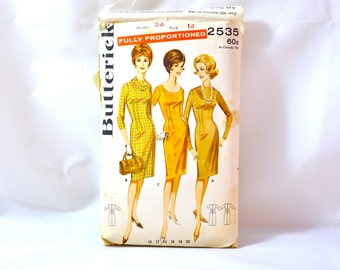 1960s Vintage Butterick Pattern 2535 for Misses Sheath Dress size 14 bust 34
