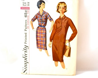 1960s Vintage Simplicity Pattern 5562 for Misses One Piece Dress size 14 bust 34