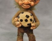Munchie Cookie Jar Troll Art Doll, hand made soft posable with giant chocolate chip cookie and lots of painted details 6 inches tall