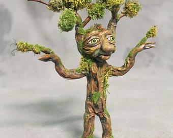 Green Tree Spirit, MonteGrew, Tree Troll, Mandrake OOAK Sculpted and bendable art doll with moss measures approximately 8 inches tall