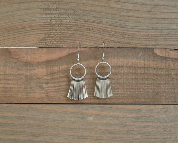 Silver Fan Earrings - Silver Fringe Earrings - Silver Spike Earrings - Silver Dangle Earrings - Silver Chandelier Earrings