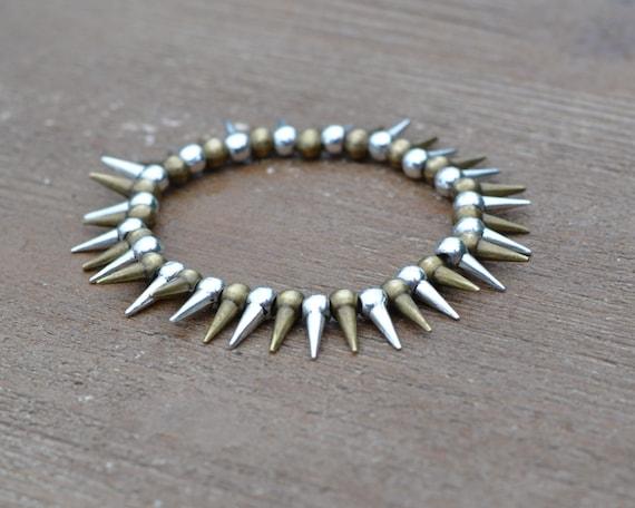 Antique Gold and Silver Spike Bracelet - Bronze Bracelet Jewelry - Gold Spike Jewelry - Beaded Stretch Bracelet - Arm Candy Bracelets