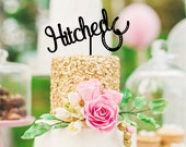 Hitched Horseshoe Country Wedding Cake Topper - Custom Cake Topper - 0126